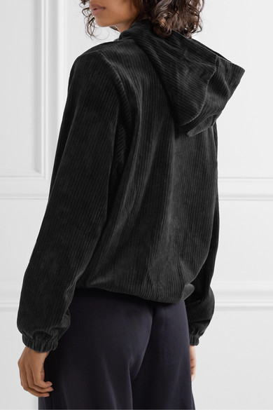Ribbed Cotton Blend Velour Hoodie by Nike