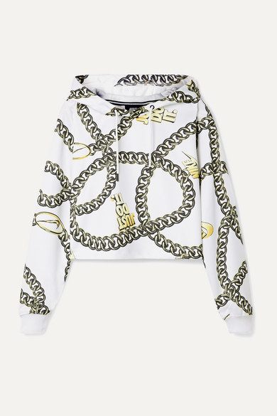 Glam Dunk cropped printed tech jersey hoodie