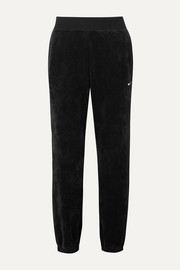 Nike Embroidered ribbed stretch-velour tapered track pants