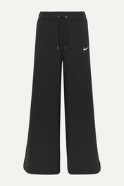Cotton-blend jersey wide-leg track pants