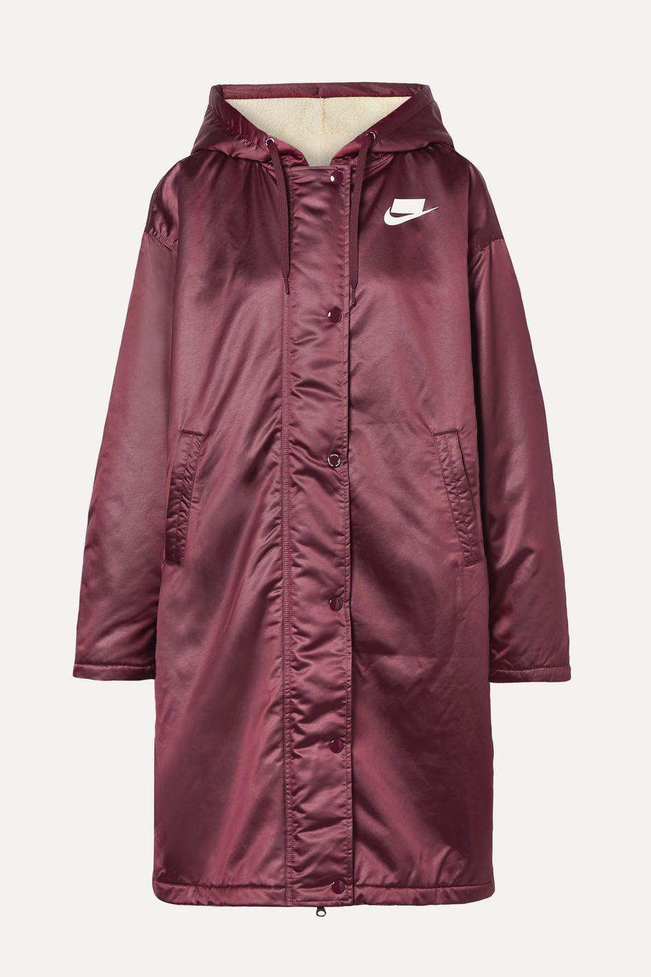 Nike Oversized hooded printed padded satin jacket