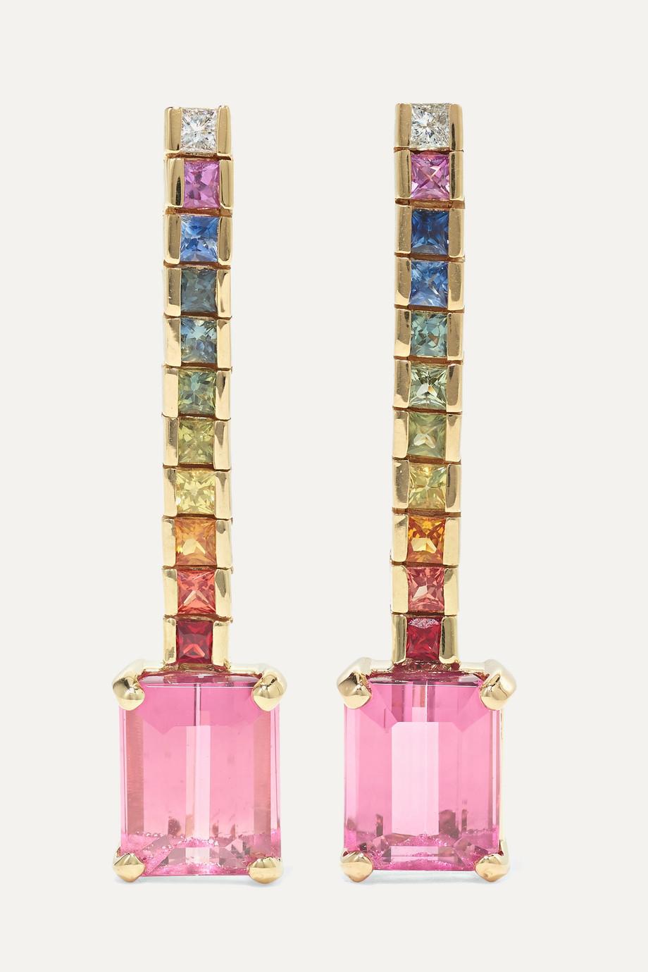 Mateo Somewhere Over the Rainbow 14-karat gold tourmaline and sapphire earrings