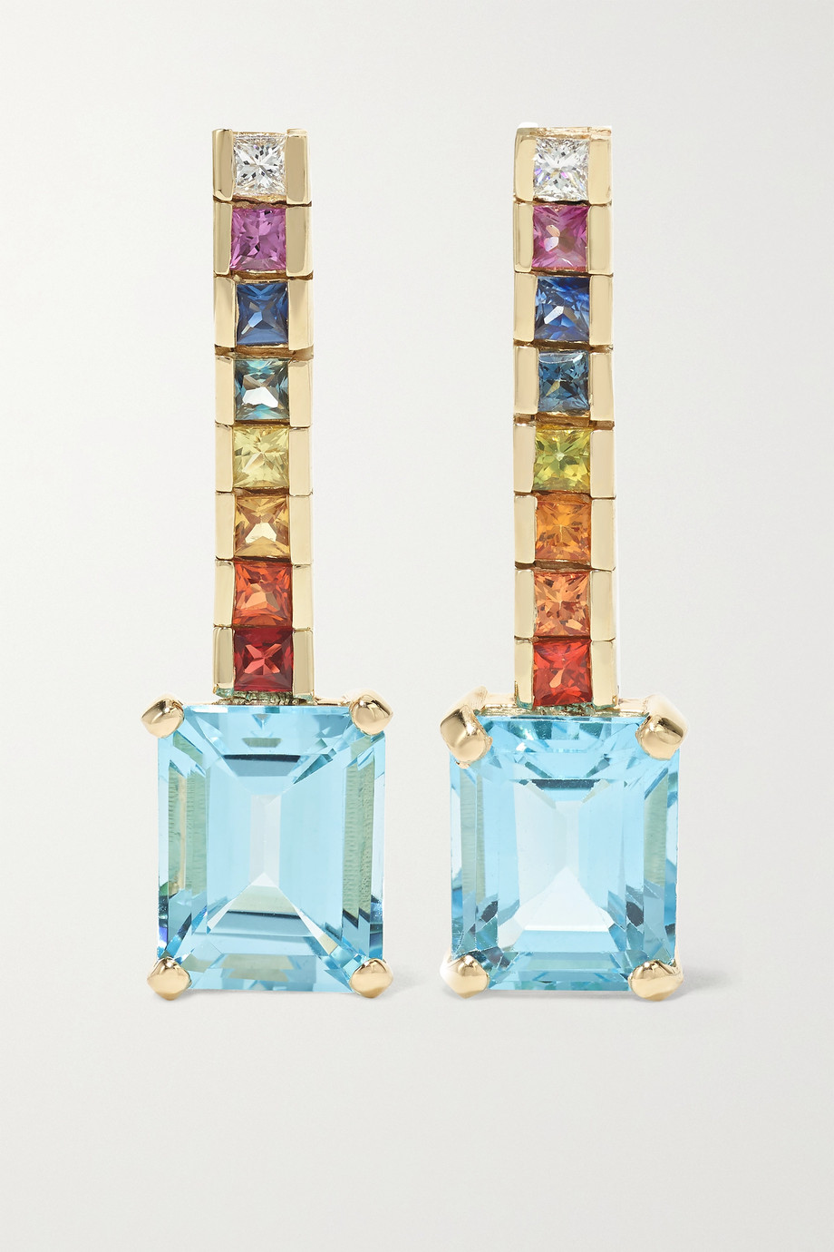 Mateo Somewhere Over the Rainbow 14-karat gold multi-stone earrings