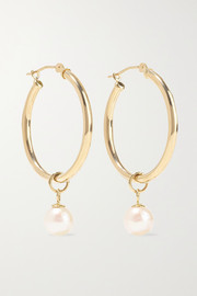 14-karat gold pearl hoop earrings