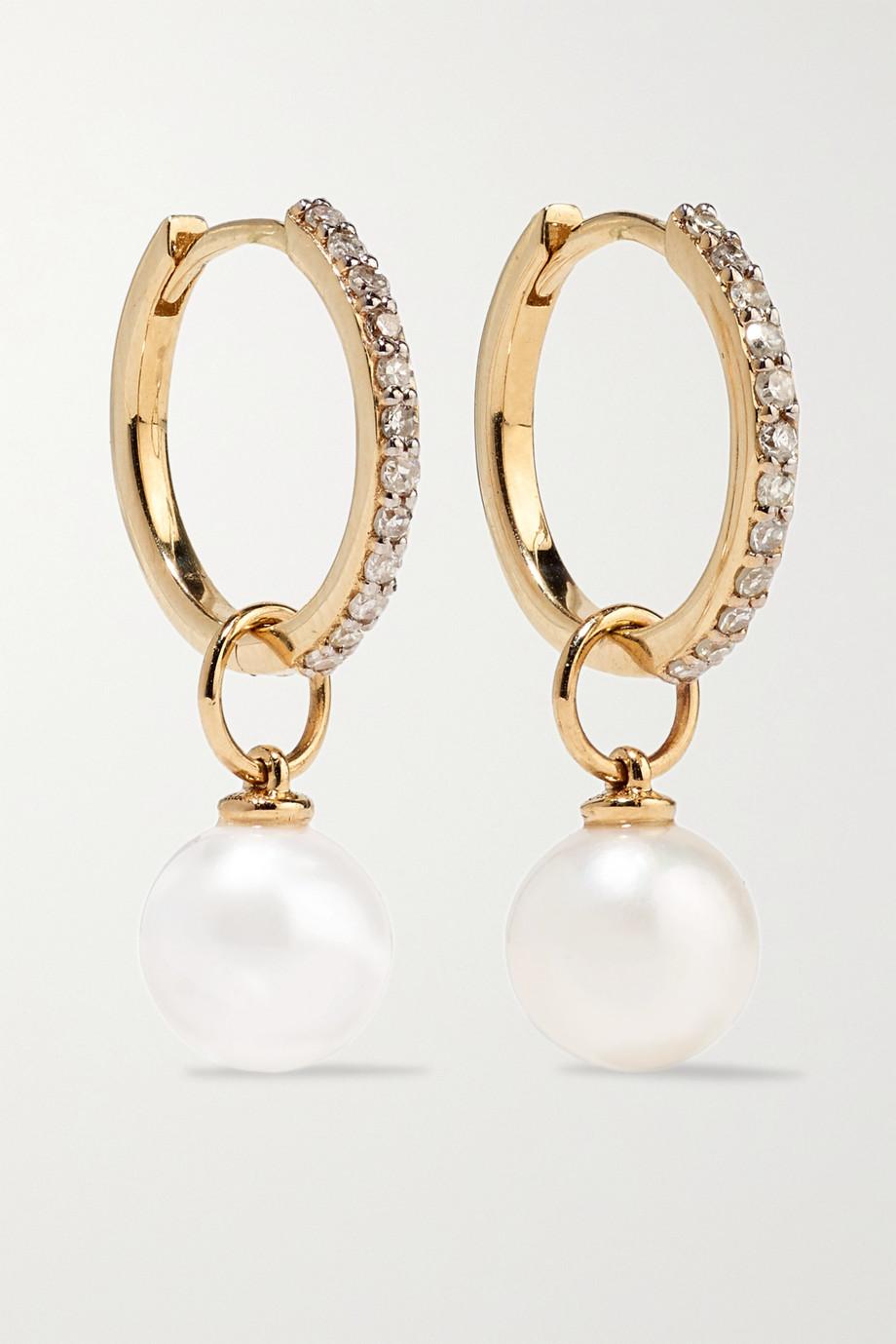 Mateo Boucles d'oreilles en or 14 carats (585/1000), diamants et perles