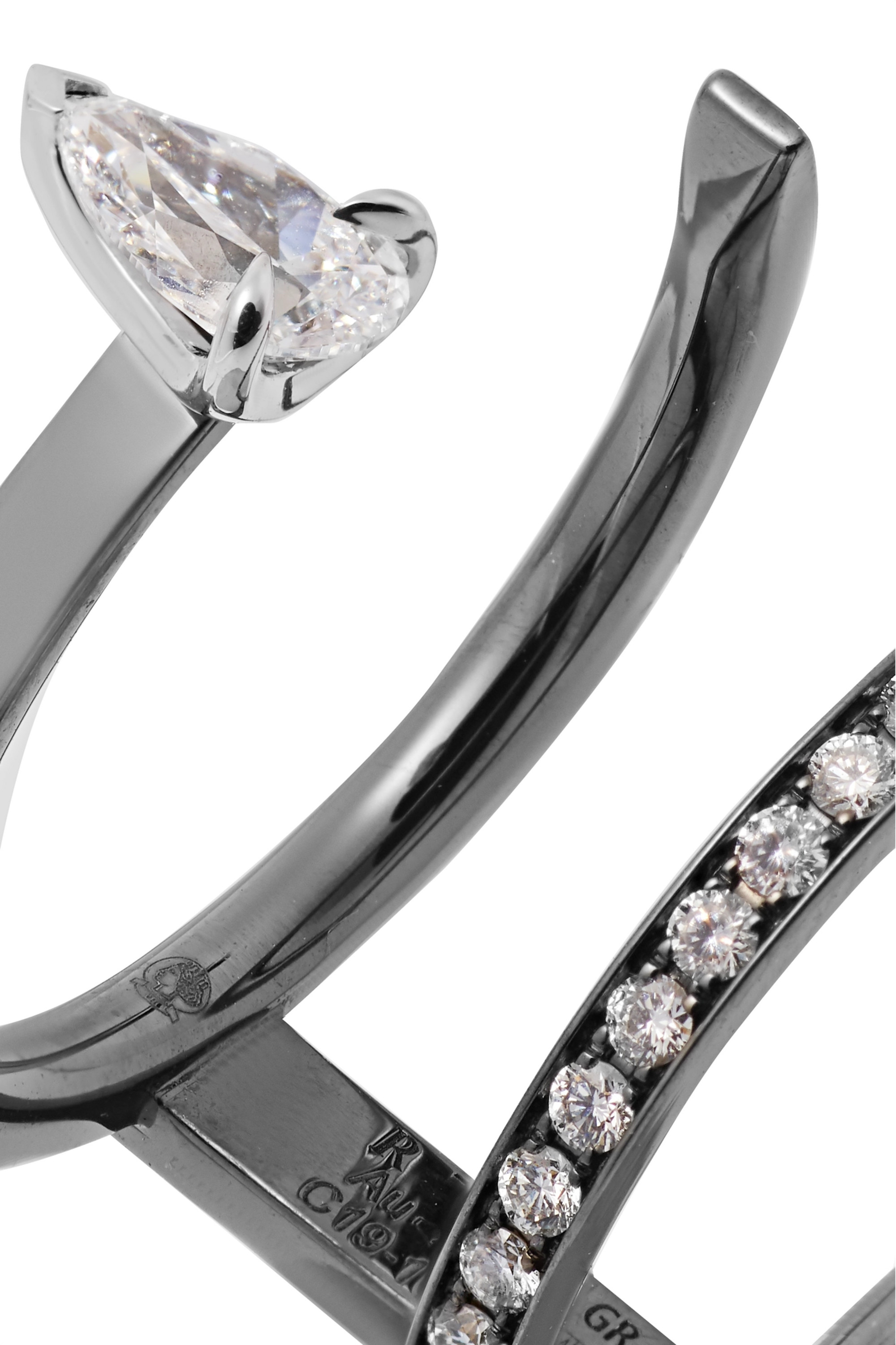 Repossi Serti Sur Vide 18-karat black gold diamond ring