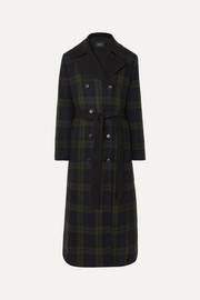 Akris Elea convertible checked wool and quilted silk down coat