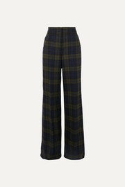 Akris Floyd checked wool-blend wide-leg pants