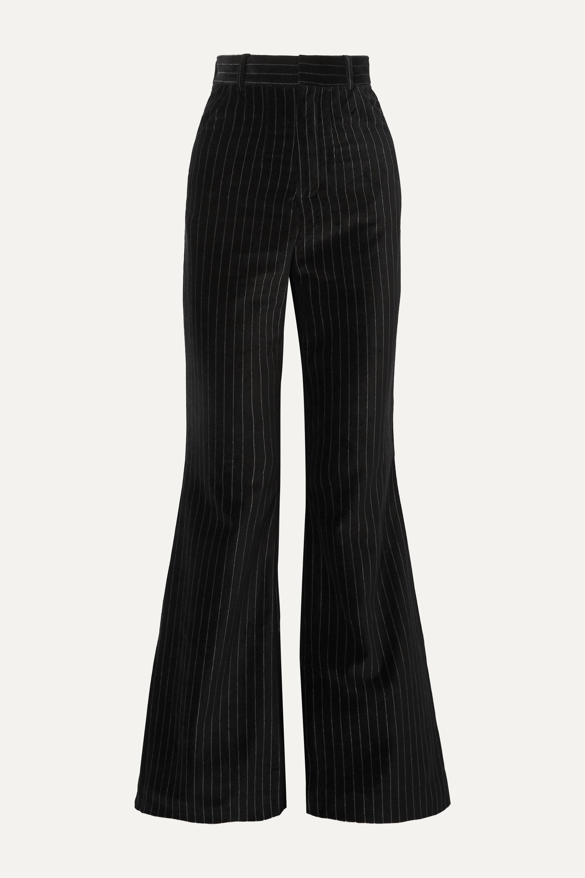 Situationist Pinstriped cotton-velvet flared pants