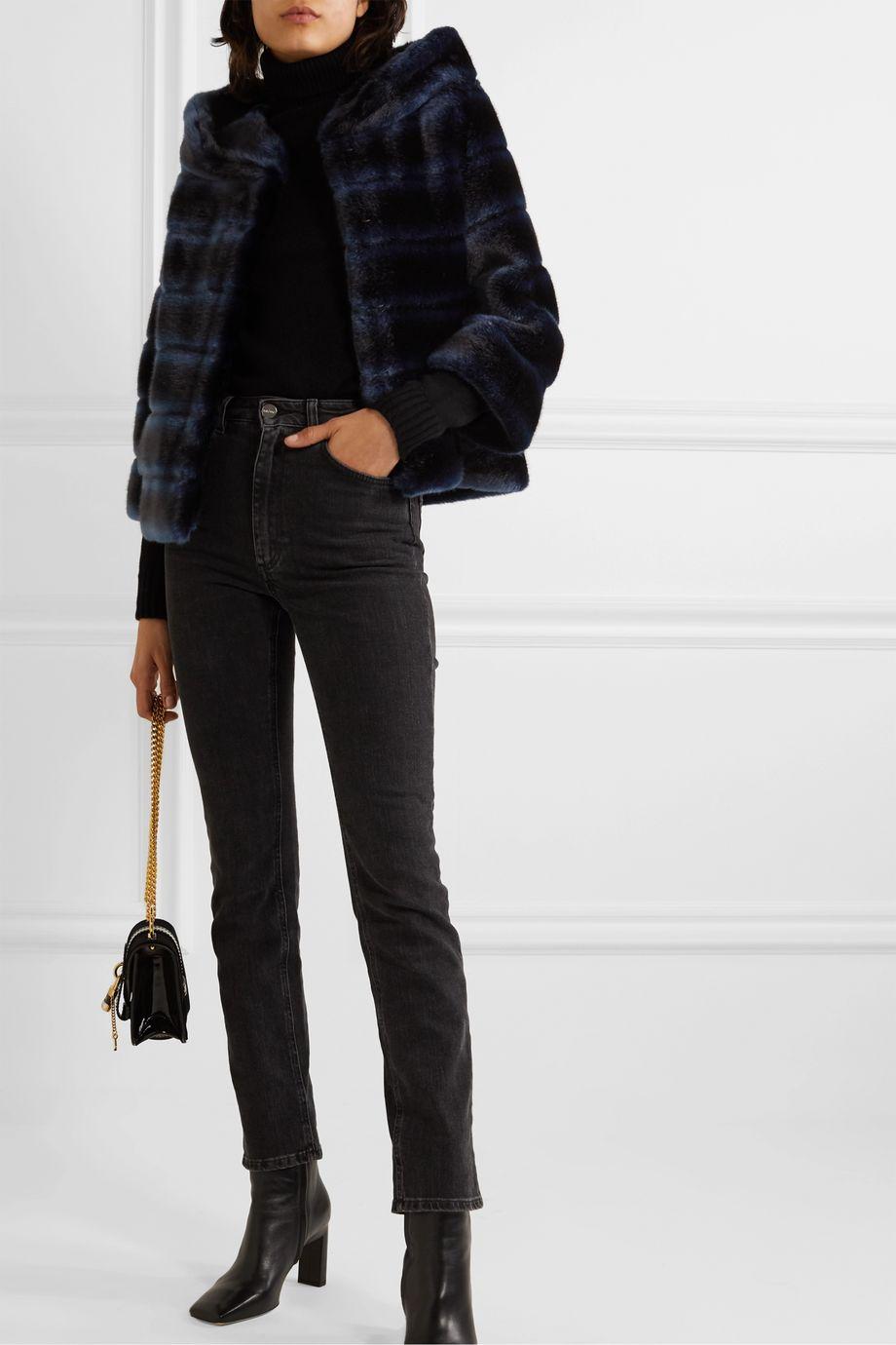 Faz Not Fur Swinger striped faux fur jacket