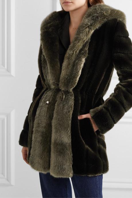 Skate Moss hooded two-tone faux fur coat