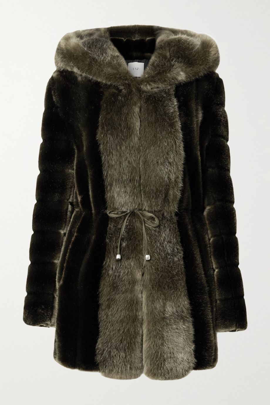 Faz Not Fur Skate Moss hooded two-tone faux fur coat