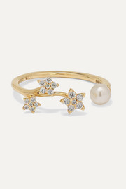 Shooting Stars 18-karat gold, pearl and diamond ring