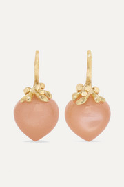 Dew Drops 18-karat gold moonstone earrings