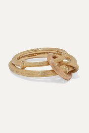 Nature 18-karat yellow and rose gold ring
