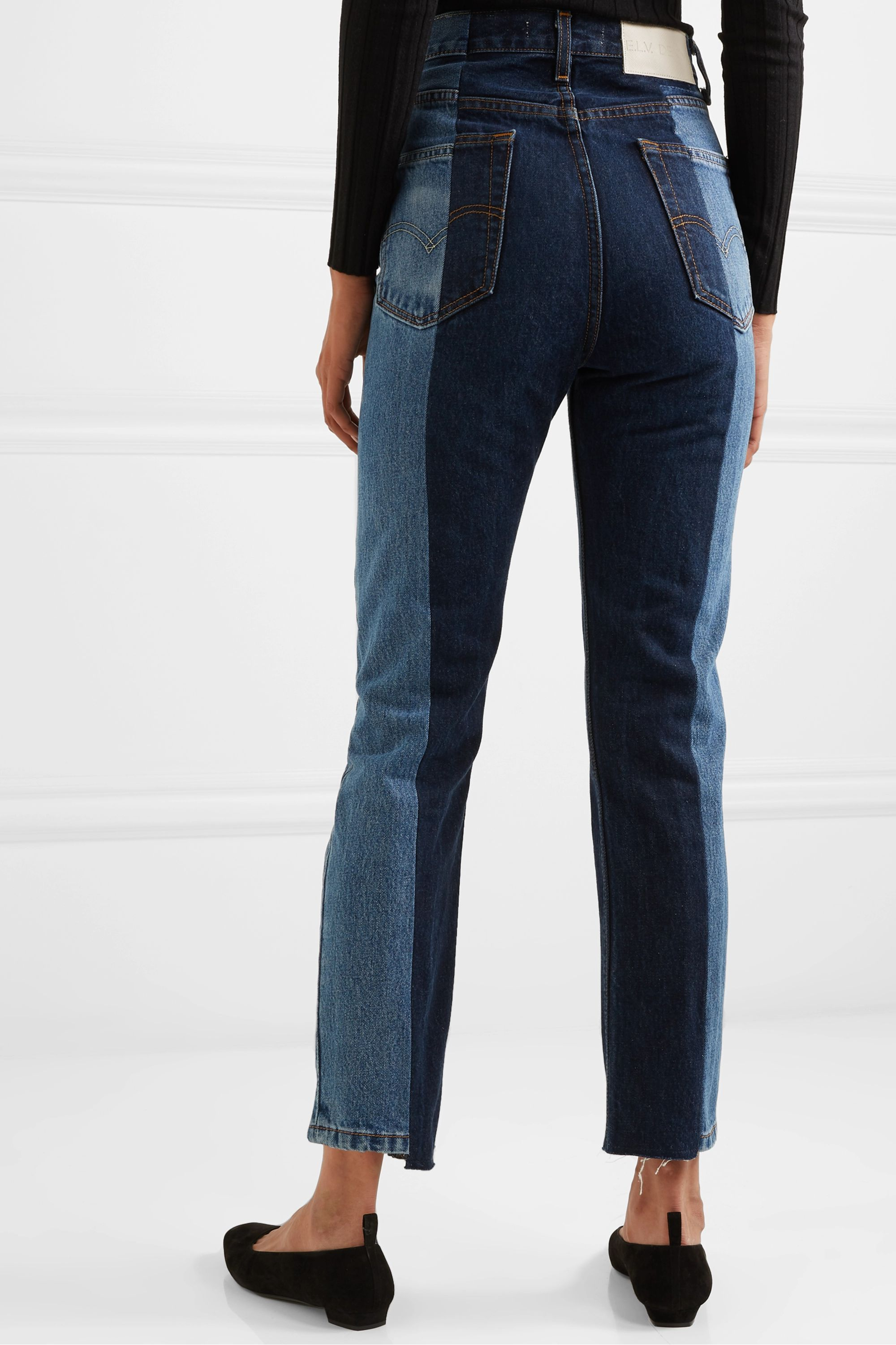 E.L.V. Denim + NET SUSTAIN The Twin frayed two-tone high-rise straight-leg jeans