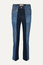 + NET SUSTAIN The Twin frayed two-tone high-rise straight-leg jeans
