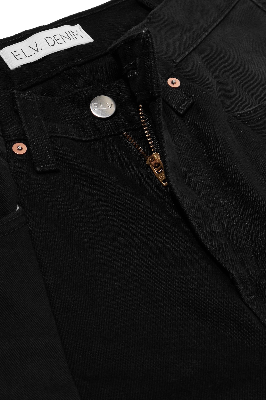 E.L.V. Denim + NET SUSTAIN The Boyfriend hoch sitzende zweifarbige Jeans mit weitem Bein und Fransen