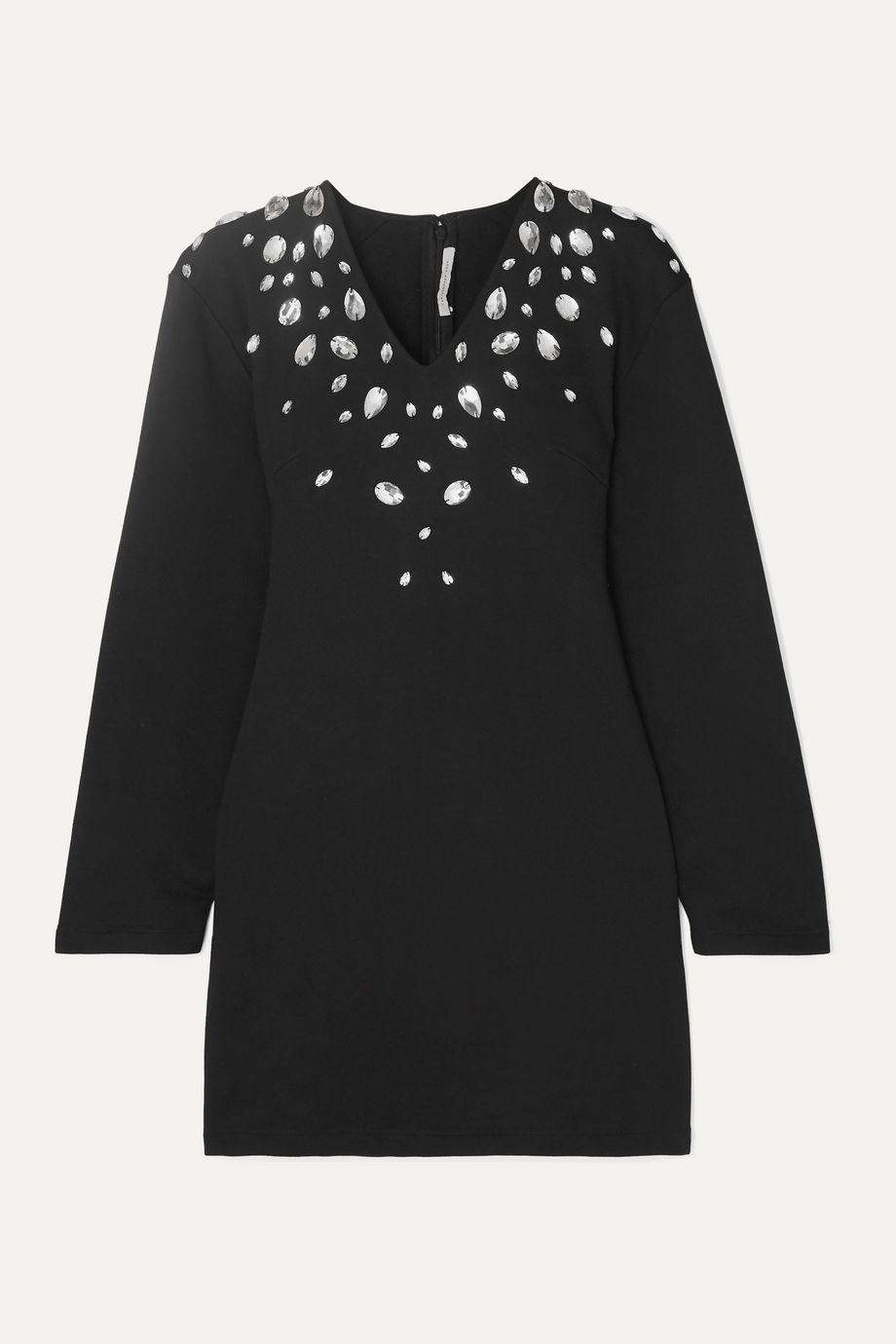 Christopher Kane Cutout crystal-embellished stretch cotton-blend jersey mini dress