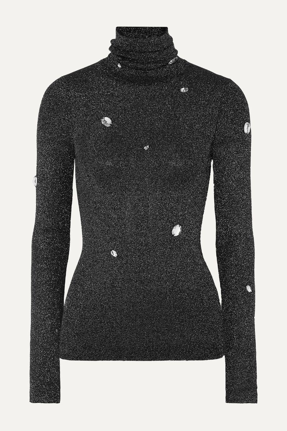 Christopher Kane Crystal-embellished metallic ribbed-knit turtleneck sweater