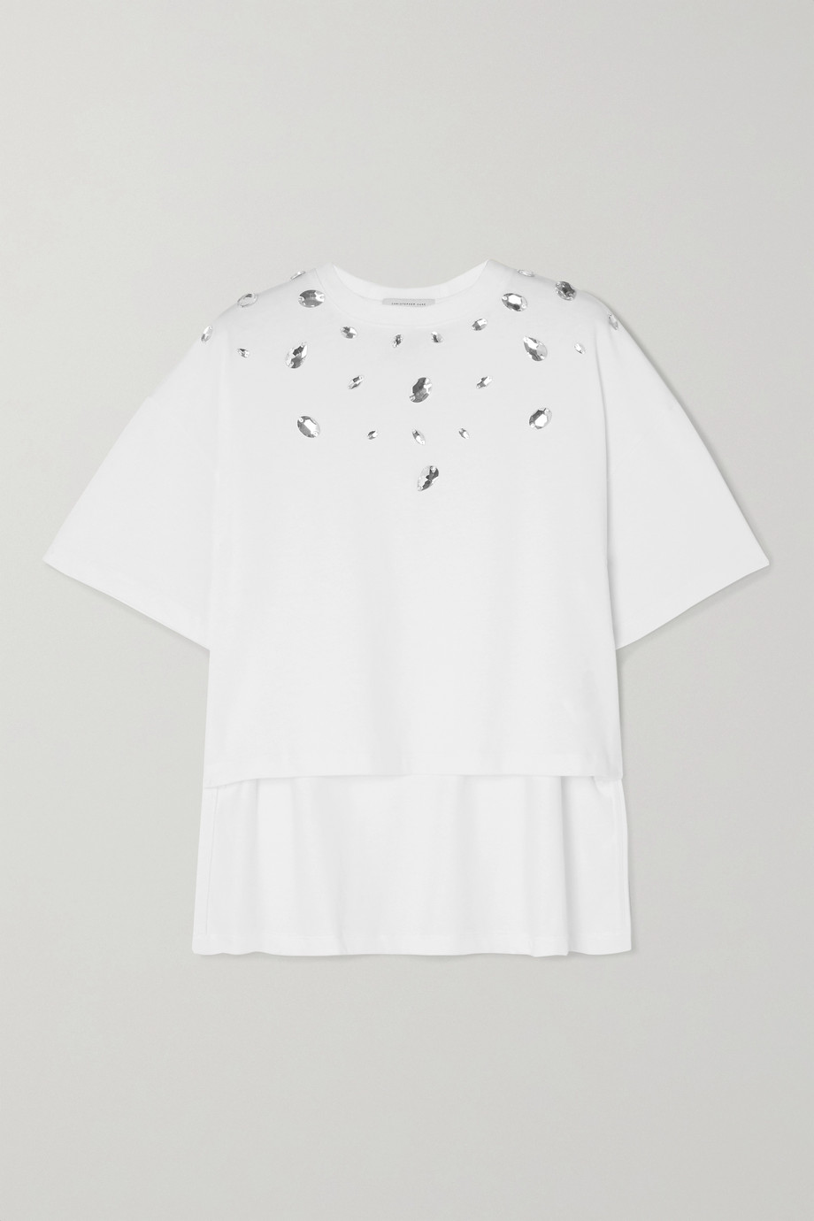 Christopher Kane Cropped crystal-embellished cotton-jersey T-shirt