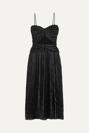 Jonathan Simkhai Ruched plissé-Lurex midi dress
