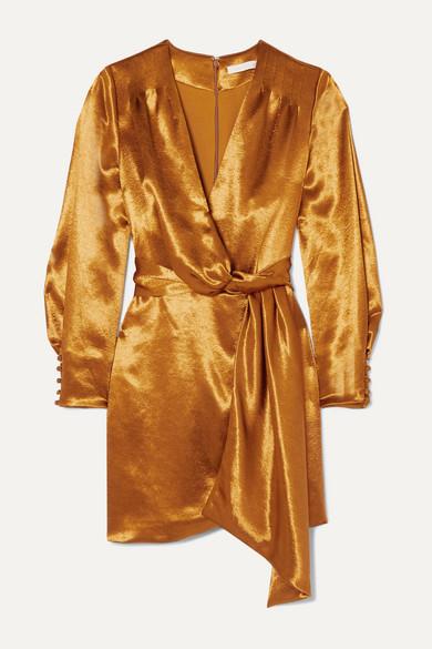 Draped Wrap Effect Satin Mini Dress by Jonathan Simkhai