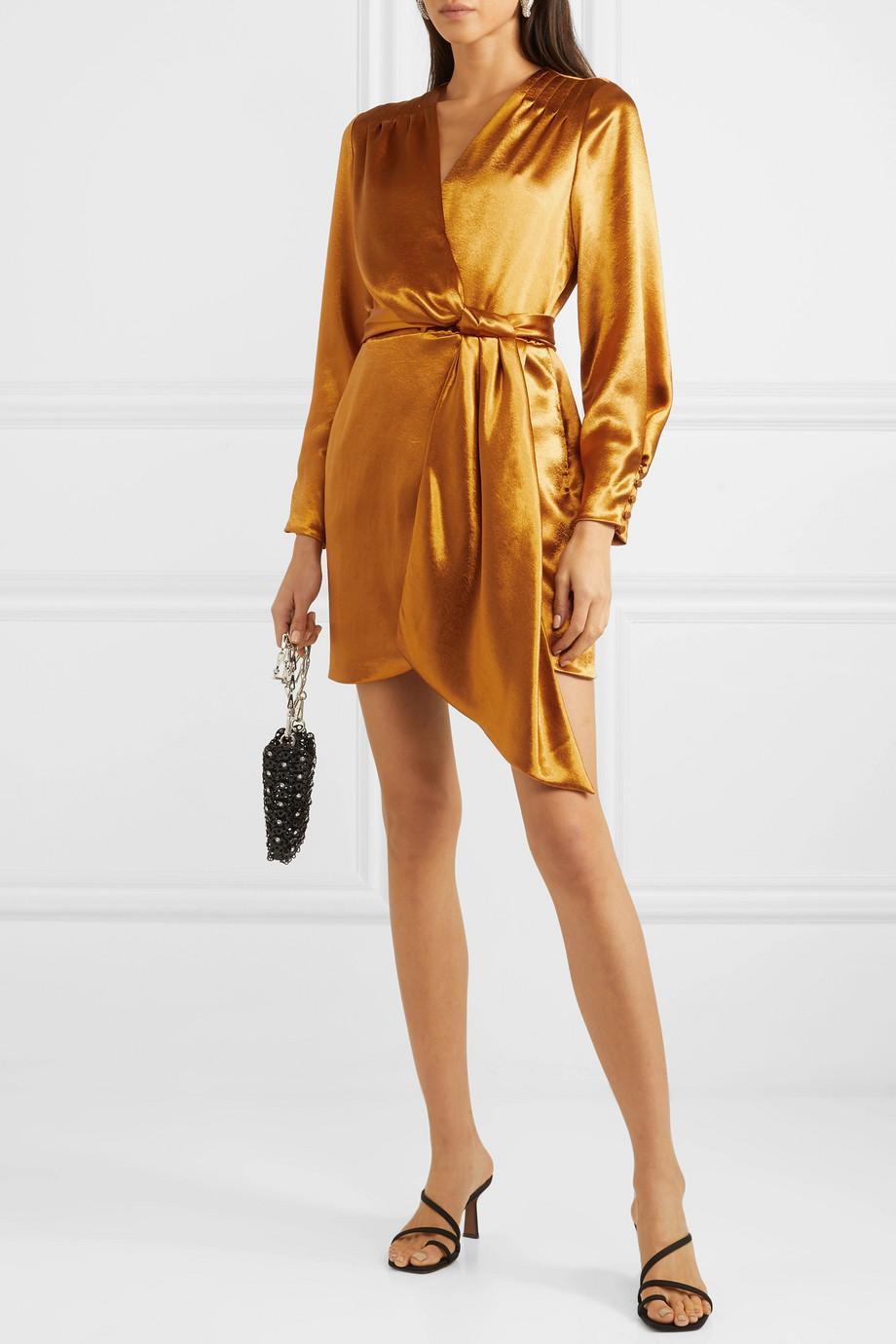 Jonathan Simkhai Draped wrap-effect satin mini dress