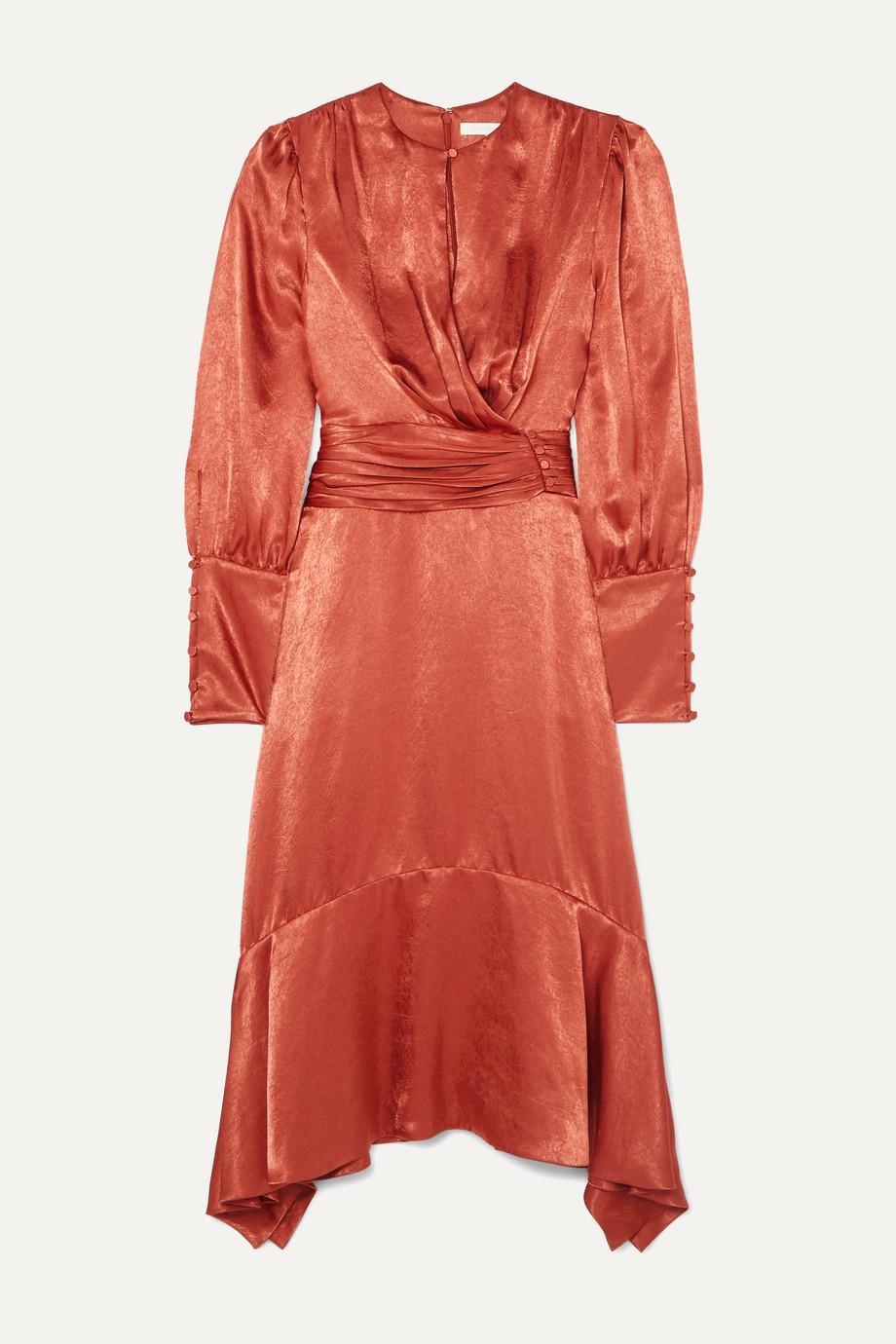 Jonathan Simkhai Ruched hammered-satin midi dress