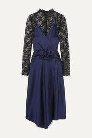 Jonathan Simkhai Layered ruched satin and lace midi dress