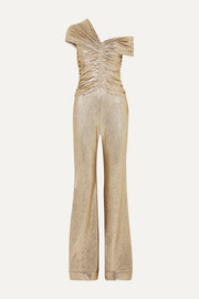 Jonathan Simkhai One-shoulder ruched plissé-lamé jumpsuit