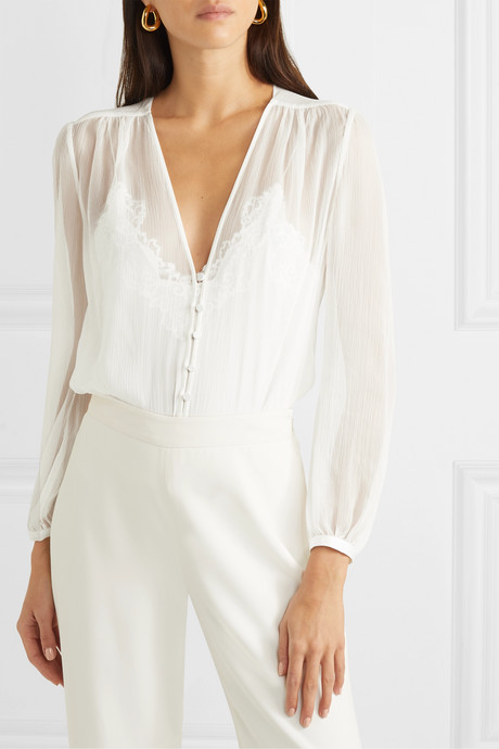 Layered lace-trimmed jersey and silk-crepon bodysuit