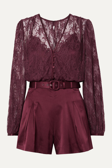 Jonathan Simkhai Suits Belted satin and stretch-silk lace playsuit