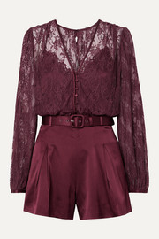 Jonathan Simkhai Belted satin and stretch-silk lace playsuit