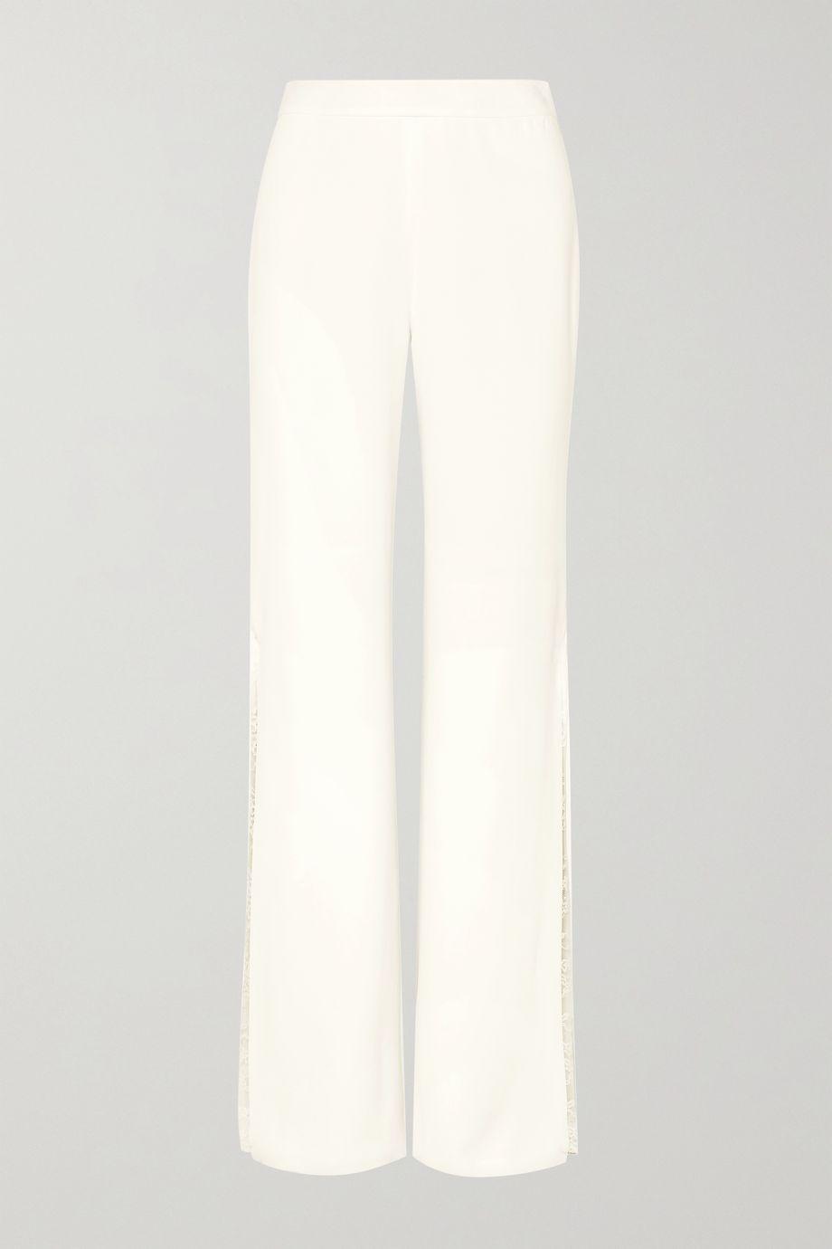 Jonathan Simkhai Lace-trimmed crepe wide-leg pants
