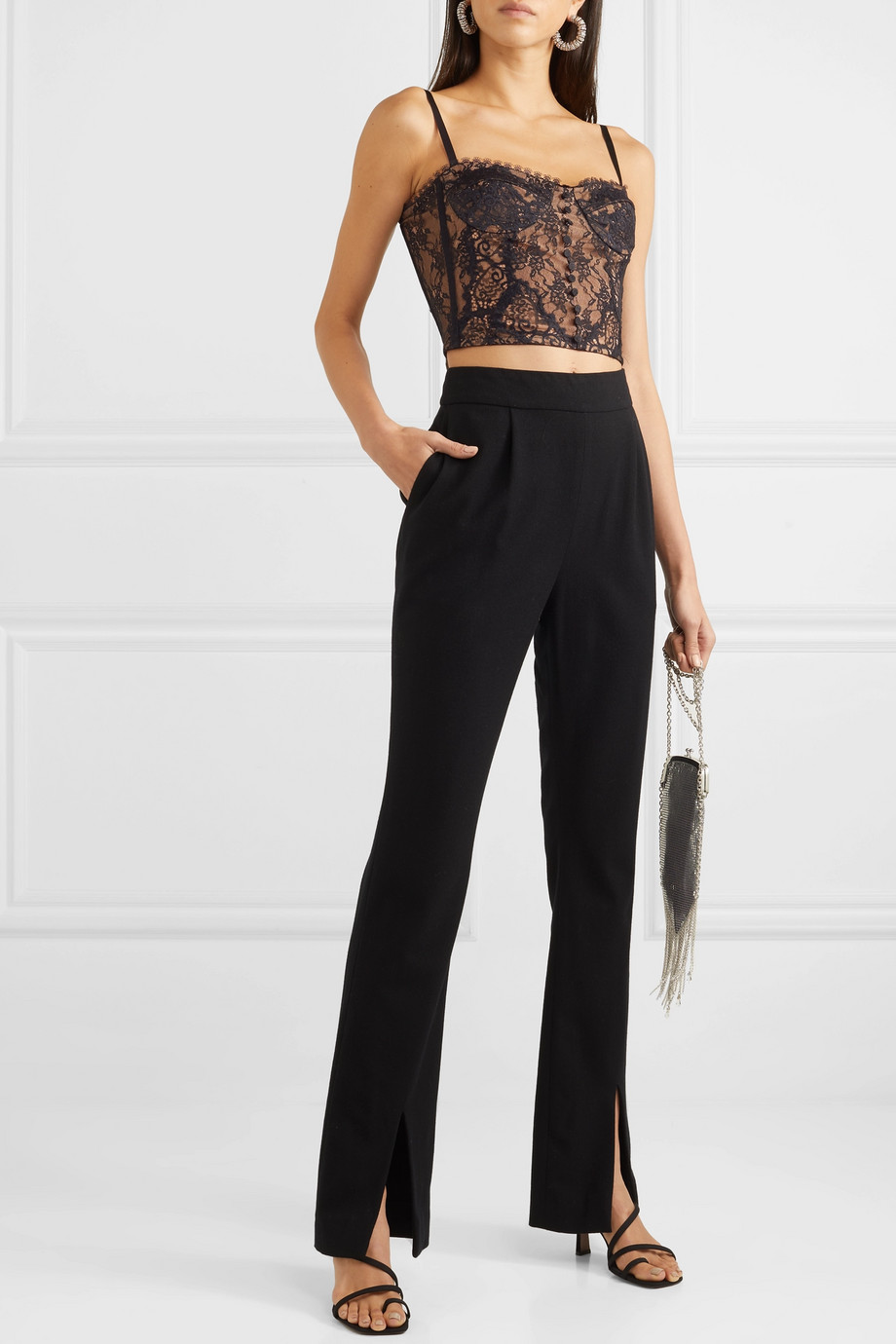 Jonathan Simkhai Cropped  satin-trimmed lace bustier top