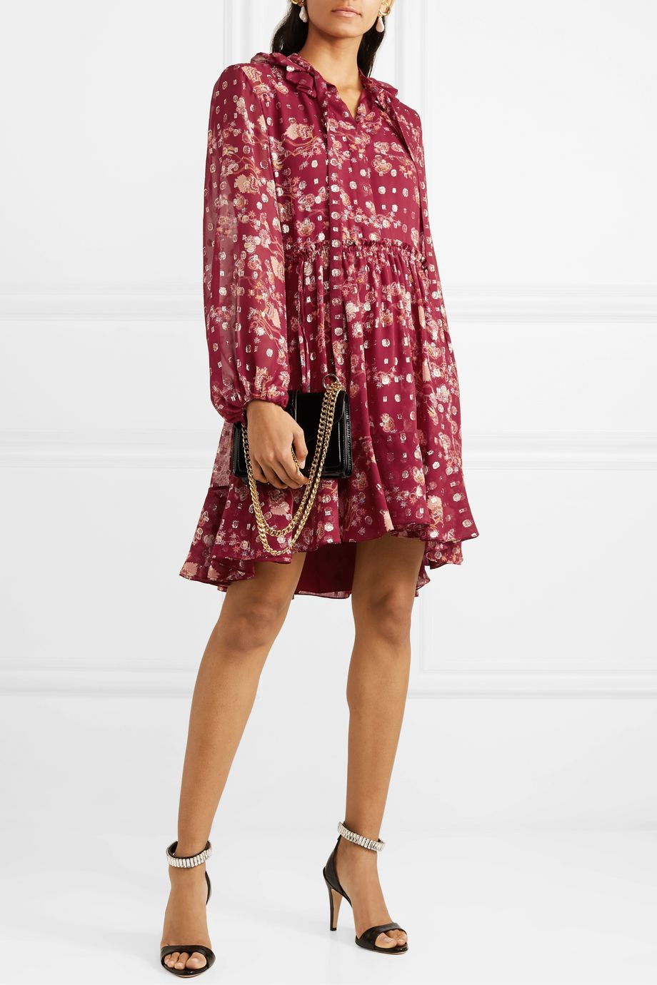 Chloé Tie-neck ruffled floral-print fil coupé silk-chiffon mini dress