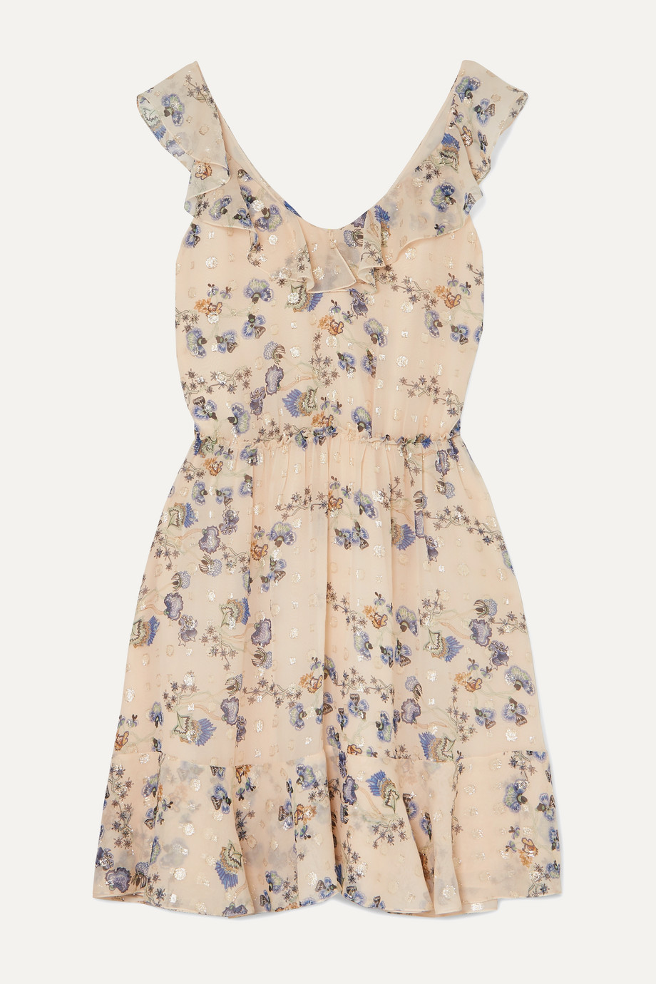 Chloé | Ruffled metallic floral-print silk-jacquard mini dress | NET-A-PORTER.COM