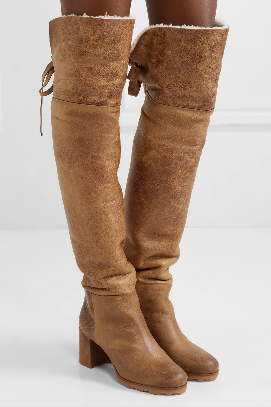 Miu Miu Shearling-trimmed leather knee boots