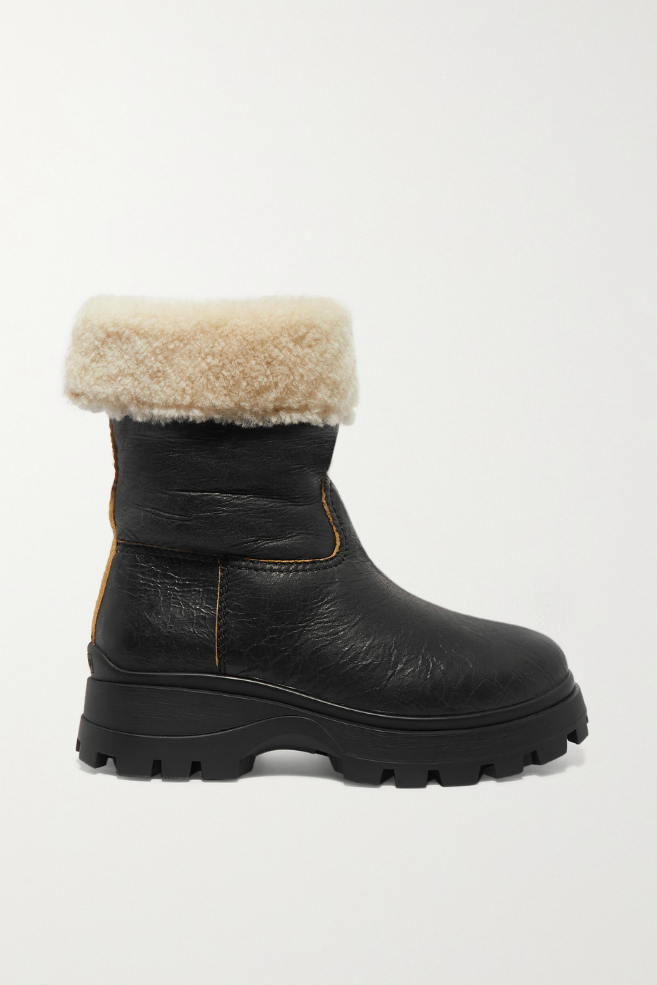 Miu Miu Shearling-lined cracked-leather ankle boots