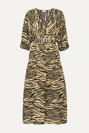 Belted smocked zebra-print cotton and silk-blend midi dress