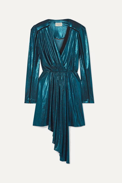 Lysia Wrap Effect Draped Stretch Lamé And Silk Crepe Mini Dress by Zeus+Dione