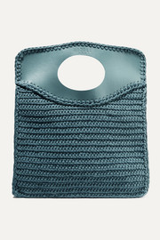 Business medium leather-trimmed crocheted cotton tote