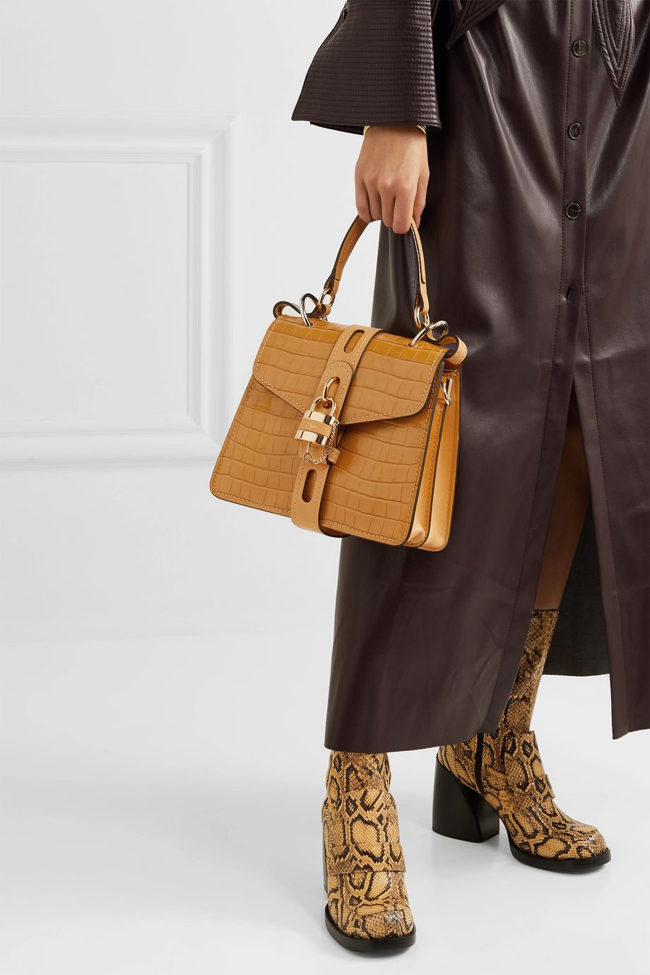 Chloé Aby small croc-effect leather tote