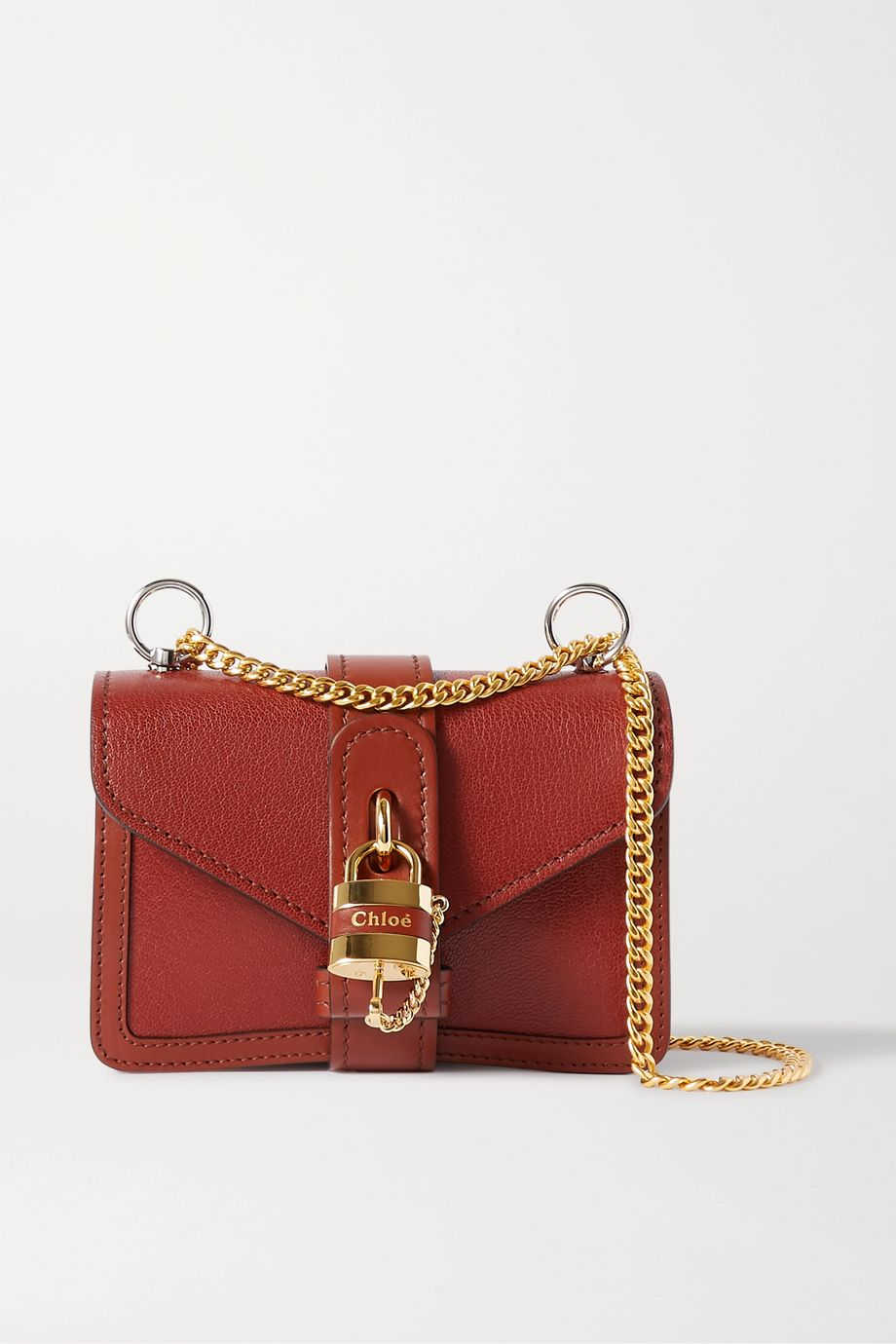 끌로에 애비 숄더백 미니 - 브라운 Chloe Aby Chain mini textured-leather shoulder bag,Brown