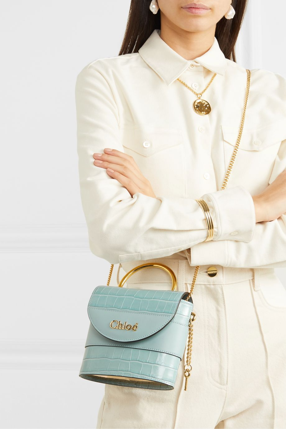 Chloé Aby Lock small croc-effect leather shoulder bag