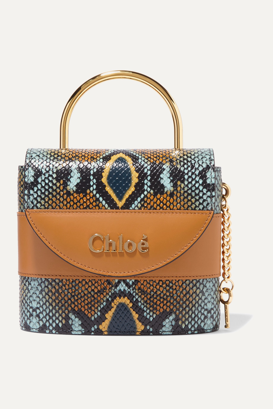 Chloé Aby Lock small snake-effect leather shoulder bag