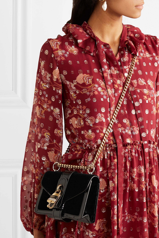 Chloé Aby Chain mini patent leather-trimmed velvet shoulder bag
