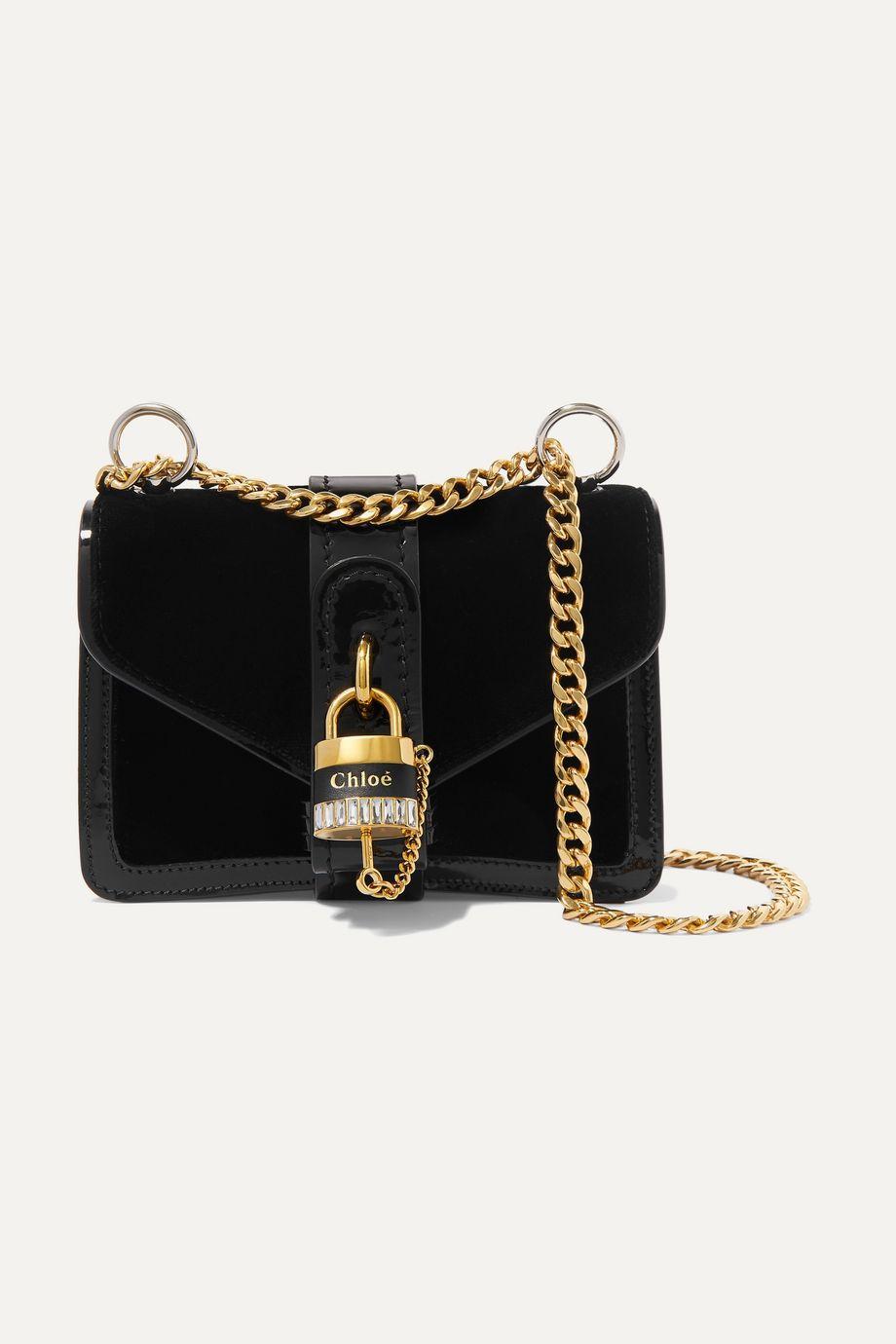 끌로에 애비 체인 숄더백 미니 - 블랙 Chloe Aby Chain mini patent leather-trimmed velvet shoulder bag,Black