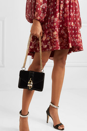 Chloé Aby Chain mini patent leather-trimmed velvet shoulder bag